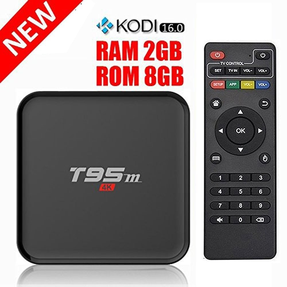 T95M 2GB+8GB Android TV BOX Kodi Pre installed Amlogic S905 Quad-core A53 Android 5.1 Lollipop Support 2.4GHZ Wifi Stream