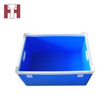 Customized color folding pp corrugated plastic boxes with side handles