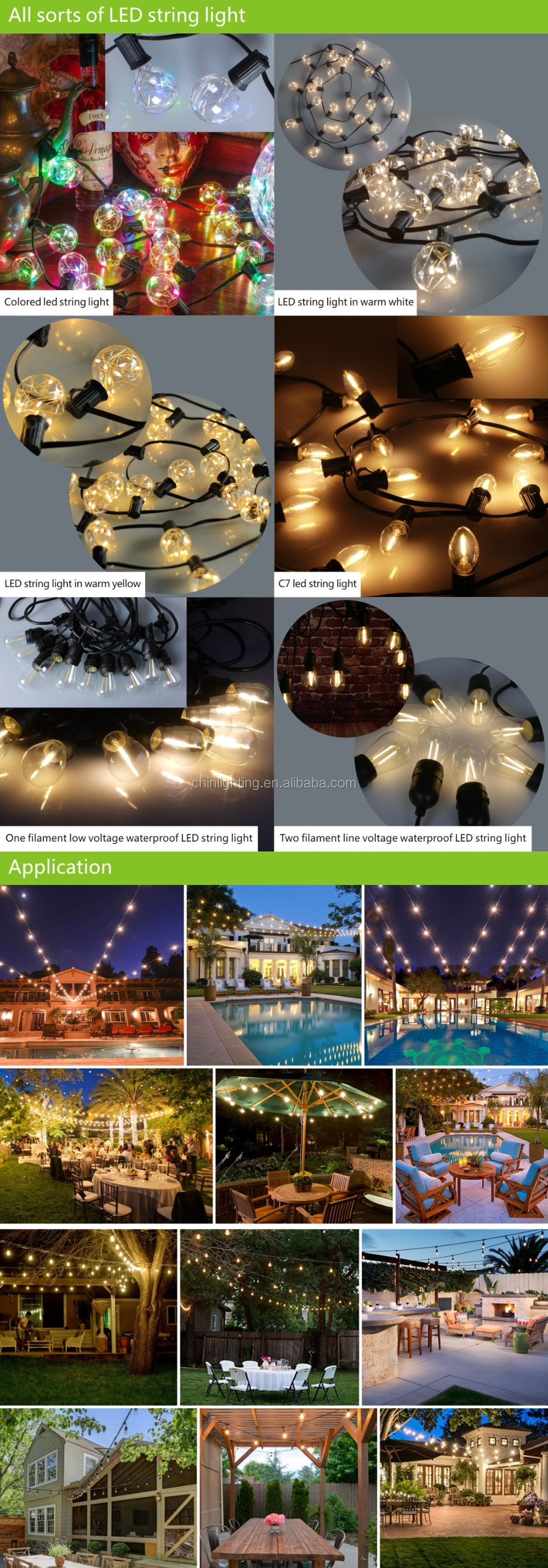 48ft weatherproof string light S14 clear glass vintage filament led bulb outdoor edison UL588 patio string light