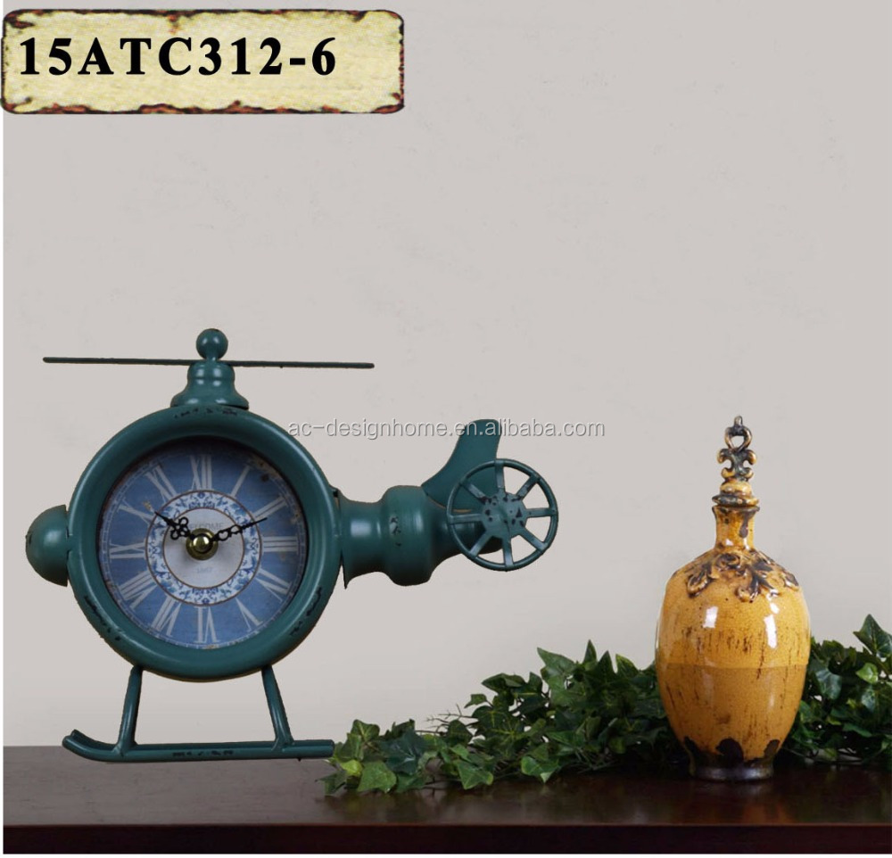 ANTIQUE GREEN METAL HELICOPTER SHAPE TABLE TOP CLOCK