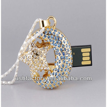 Moon Crescent shape crystal necklace usb flash