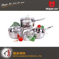 Stainless steel hollow handle and knob cookware glass lid capsule bottom cookwares , top class kitchen ware