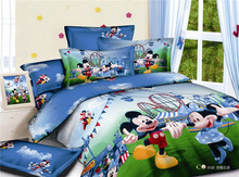Mickey Minnie Mouse print 3d 100% cotton children duvet cover set with matching curtain