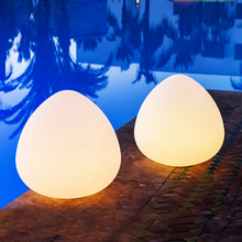 waterproof outdoor plastic egg shaped led mood table lamp light