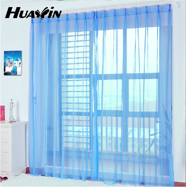 100% polyester net curtains blue warehouse sheer gauze fabric