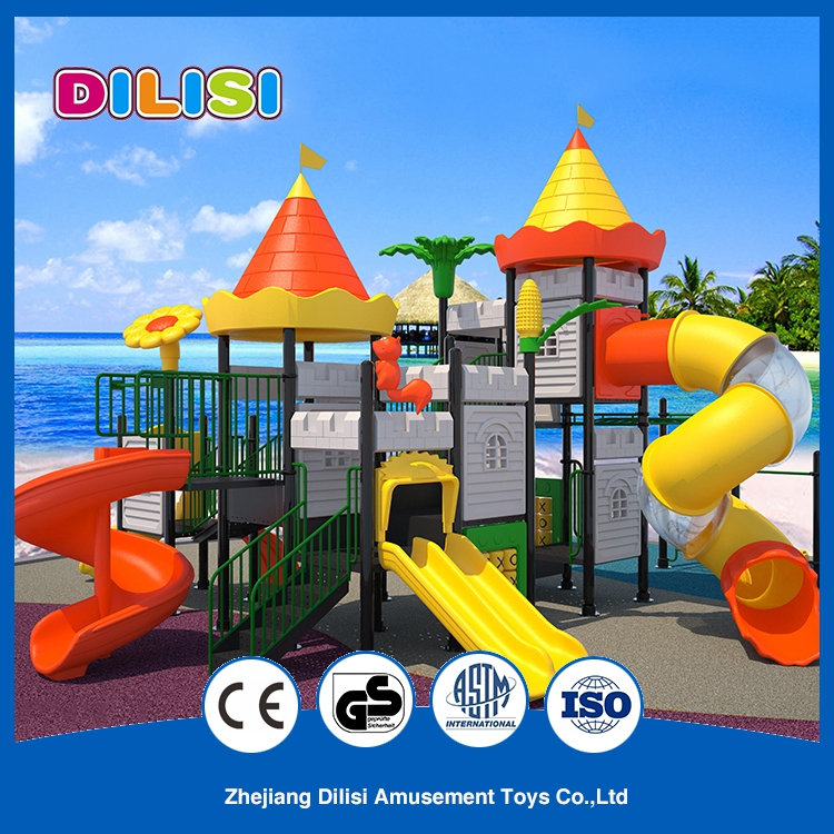 2017 outdoor plastic curved playground open spiral tube kids slides
