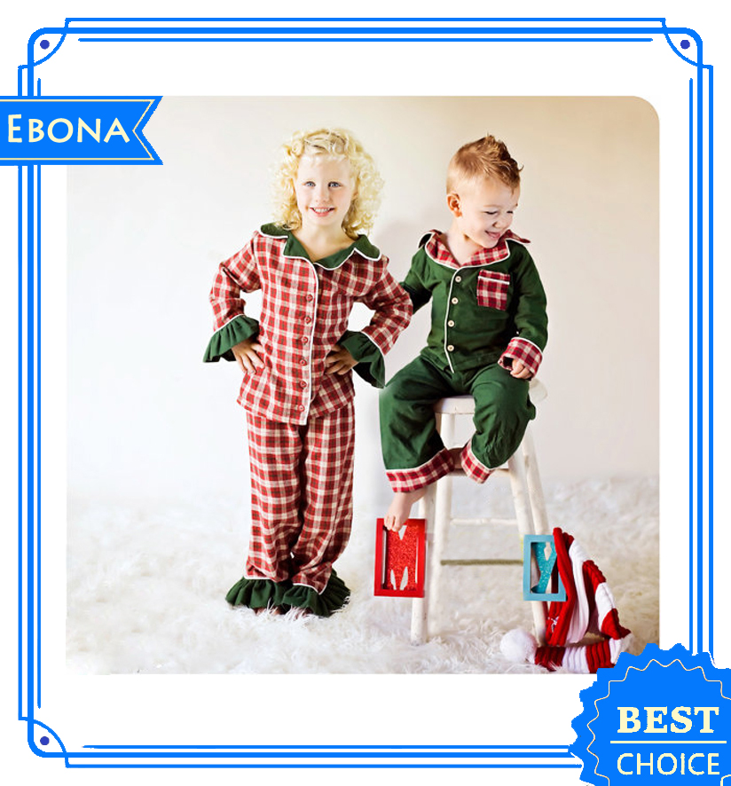 2016 Wholesale Custom Childrens Cotton Pajamas Baby Pajamas Sleepwear Kids Girl Christmas Pajamas