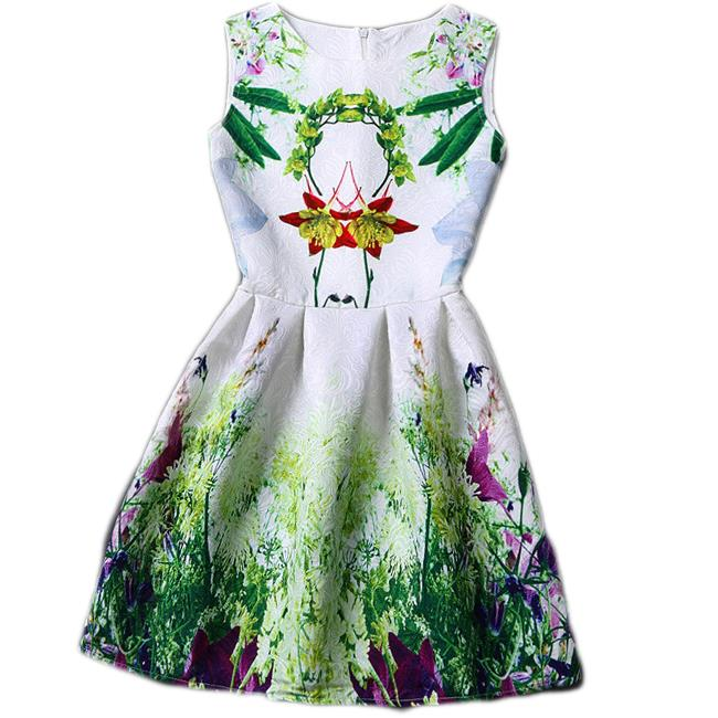 Summer Women Sleeveless Vintage Dress O-Neck Floral Dress Spring Ladies Casual Print Dress Vestido 2015