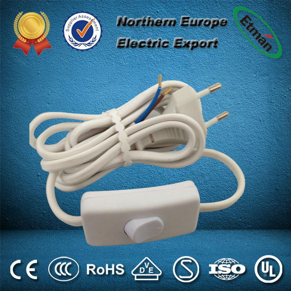 European plug with cables and switch/cable plug