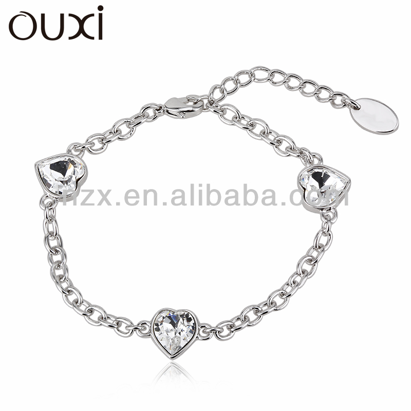 OUXI fashion leader jewelry silver crystal bead bracelet 30248-1