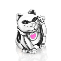 Thread Maneki-Neko Charm Beads 100% 925 Sterling Silver Charms DIY Jewelry Fits European Style Bracelets Wholesale PDMB0097