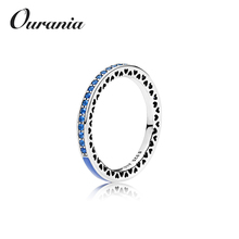Online Hot Selling Handmade Sterling Silver Jewelry Girls' Finger Rings with Rediant Heart Blue Enamel and CZ