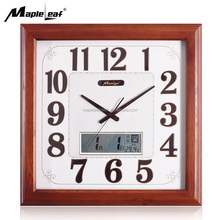 Wood Crafts Square Wall Clock with LCD Digtial Calendar