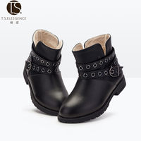 warm and very popular school girls kids black or brown flat eyelet upper trap cow leather nice winter flat ankle snow boots