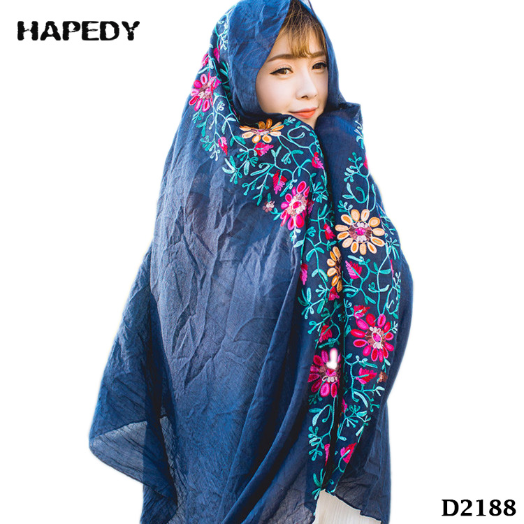 Indonesian Style Cotton Scarves Turkish Women's Flowers Embroidery Scarf Muslim Hijab