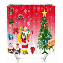 Lastest 3D print christmas design cloth shower curtain for living room