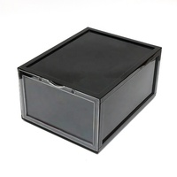 Custom durable stackable removable black AJ injection plastic shoe Sneakers Storage box with clear front drop door