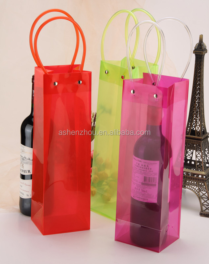 High quality custom pvc plastic wine tote bags clear transparent pvc ice bag with handles