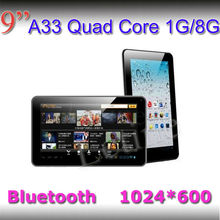 High end 9 inch Allwinner tablet 1024*600 retina display tablet on android tablet bc 1GB Ram A33 quad core