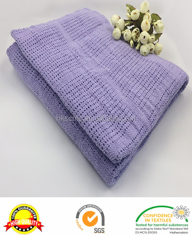Hot sale 100% cotton cellular purple weave baby Blanket