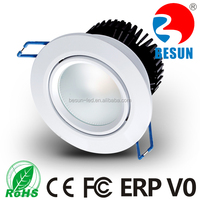 High power high cri 2700k black/white/silver housing 7w cob led downlight 70mm
