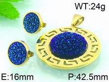 Fancy Dark Blue Gemstone Jewelry Set 18k Gold Plated Jewelry Set