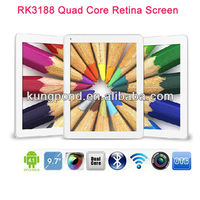9.7inch RK3188 Quad core tablet 1.8Ghz 2GB/16GB Dual Camera Bluetooth Retina Screen Android 4.1 tablet PC
