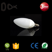 2years warranty ceramic body clear acrylic cover 3w 5w smd c37 candle led bulb e14