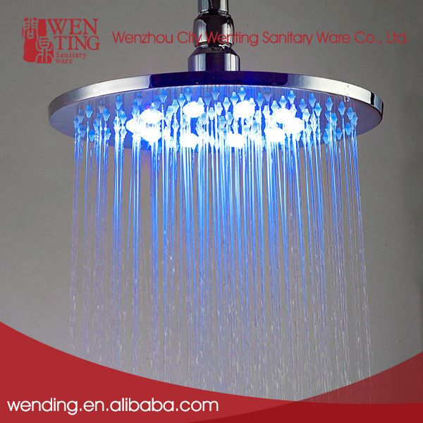 Temperature controlled colorful rain LED ceiling shower head