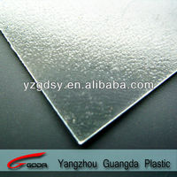 Transparent embossed rigid PVC sheets for display
