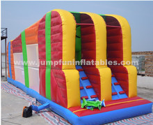 Double lane kids zipline inflatable sports for commerial fun games