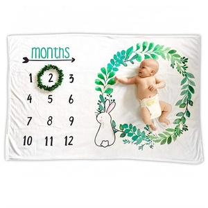 12 Months Luxury Muslin Baby Monthly Milestone Blanket For Photo Prop Cute Newborn Infant Super Soft Baby Blanket Organic Cotton