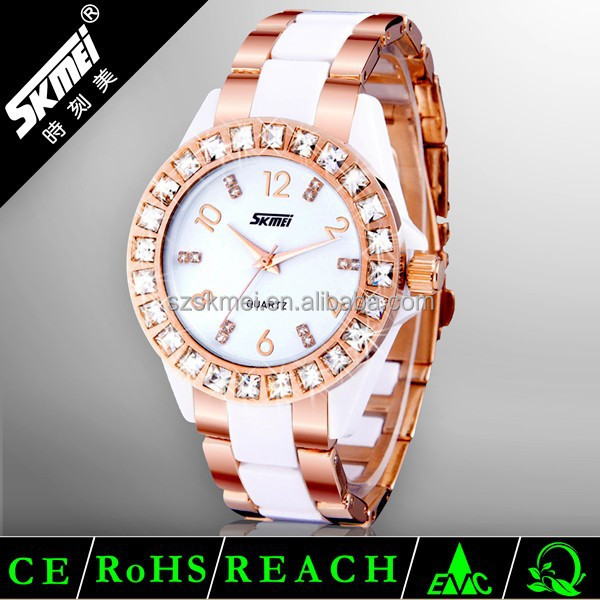 hot lady wristwatch, shinning design ladies gold watch