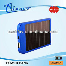 Hot selling newest design 2600mAh Capacity Solar Power Bank for ipad/iphone/pda/gps,2012 best sale portable power bank