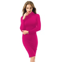 2016 new women autumn winter khaki red clubwear rayon bodycon party dresses white olive pink midi bandage dress long sleeve