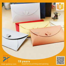 Colored Kraft Iridescent Pearl Paper Envelope For Greeting Card With Love Heart Lock