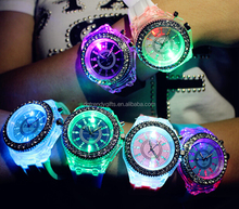 Customized Seven Colors Led Jelly Silicone Sport Watches For Boys Girls Teenagers