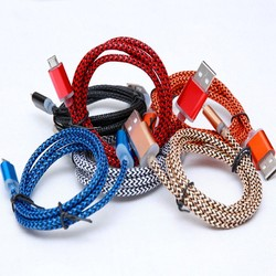 cheap Colorful fabric nylon braided Micro Usb Data Cable for Samsung