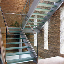 Modern good looking double stringer prefabricated outdoor stairs / indoor stainless steel glass staircase