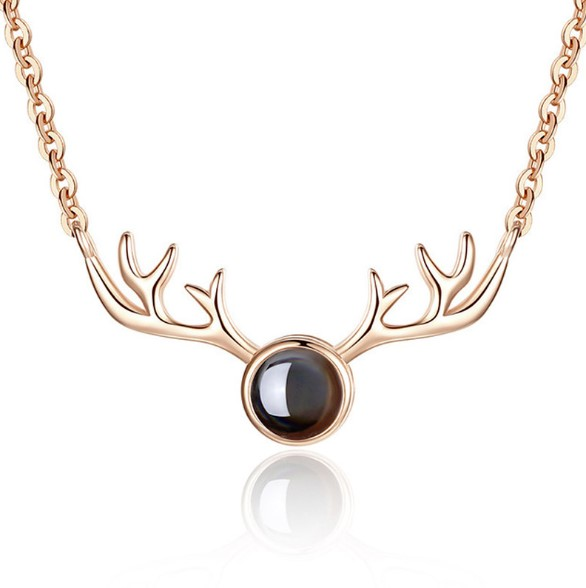 S925 <strong>100</strong> languages in sterling silver I love you <strong>a</strong> deer has <strong>a</strong> memory of your projection necklace and <strong>a</strong> Christmas deer necklace