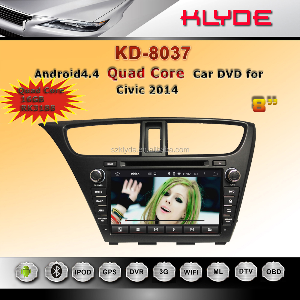 Android car dvd player with reversing camera for honda civic 2014