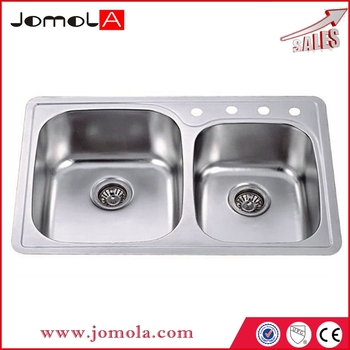 American standard Double bowl 304 stainless steel kitchen sink with drainboard JD-8456c