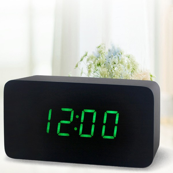 Home decoration wood table smart alarm clock with calendar