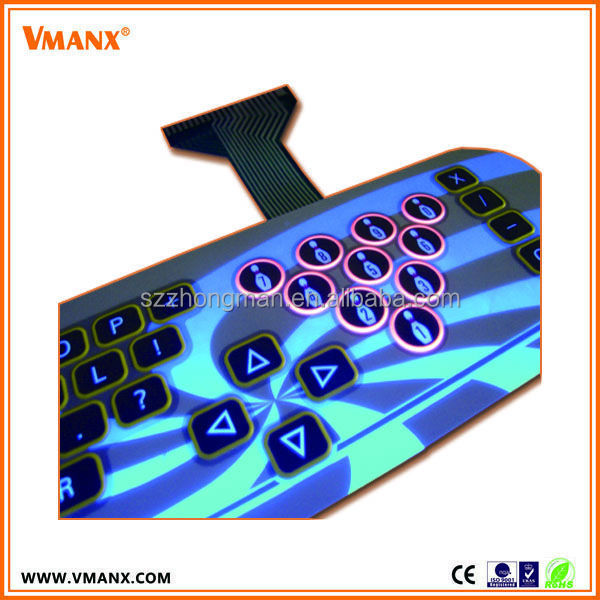 Good touch feeling embossed tactile mechanical gaming membrane switch pads keypad keyboard