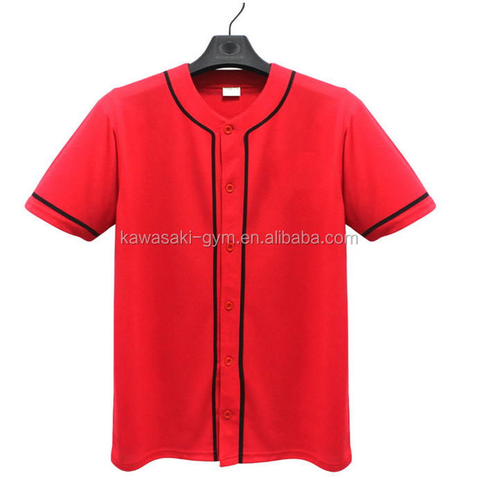 Fashion Short Sleeve Button Blank Men Baseball Jersey