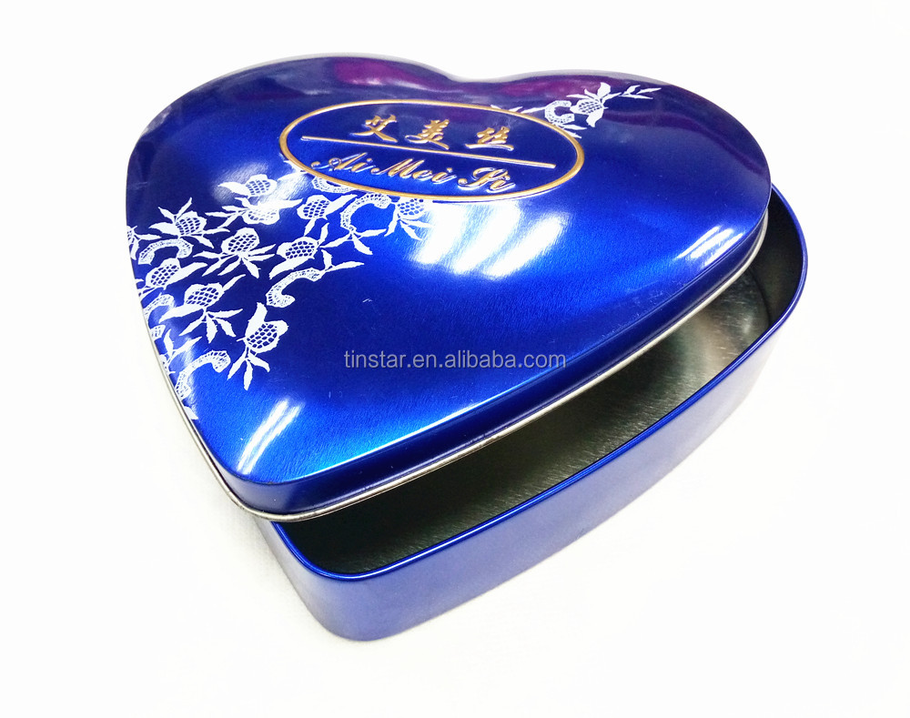 wholesale heart shape wedding tin box for chocolate