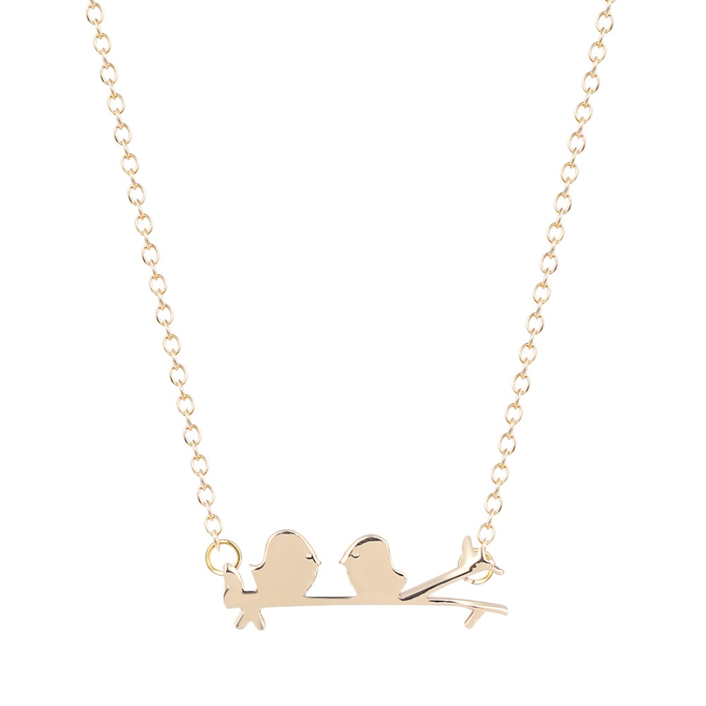 New Style Bird and Leaf Lariat Necklace for Girls and Ladies Pendant Necklace Minimalist Jewelry Gift