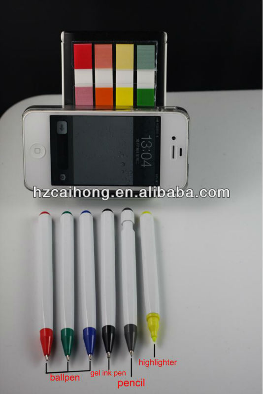 Popular modern design 6 in 1 pen set moblie phone shape pen set suitable for promotional and as gift