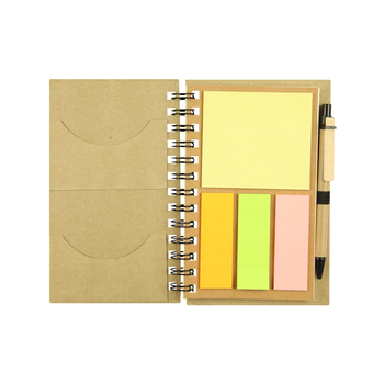 Recycled paper notebook with colorful notepad and pen