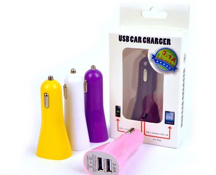 China Factory Wholesale Trumpet-Shaped Dual Usb Car Usb Charger For All Smartphones
